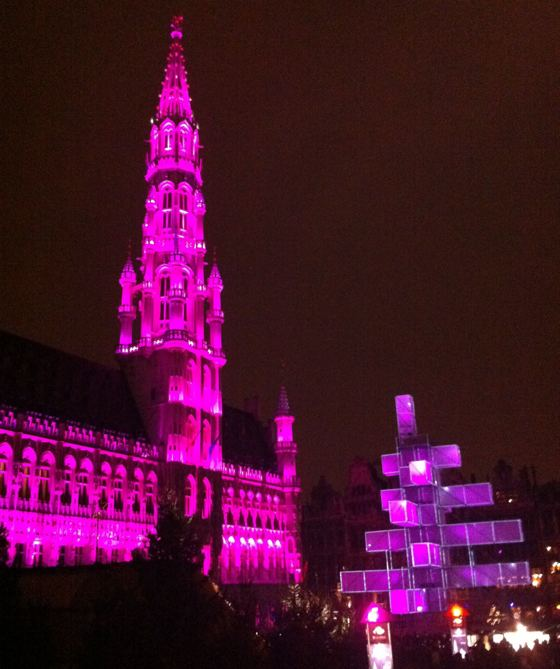 Brussels Grand Place Christmas night