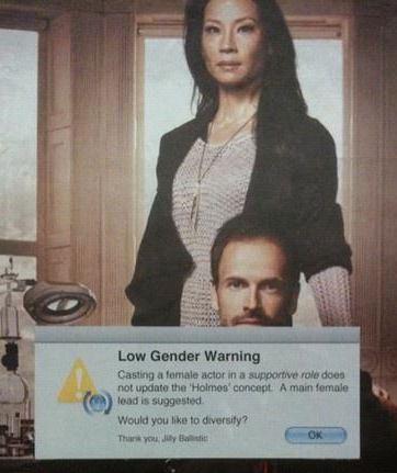 low gender warning Elementary Lucy Liu Jonny Lee Miller