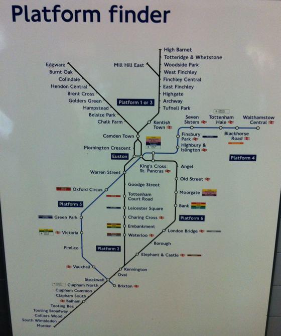 platform finder Euston Underground