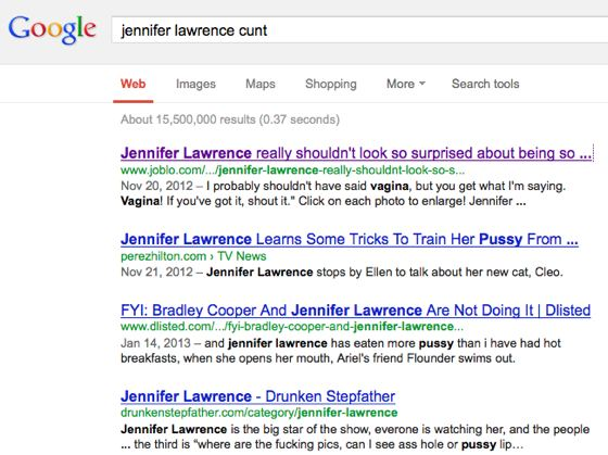 Jennifer Lawrence cunt Google search