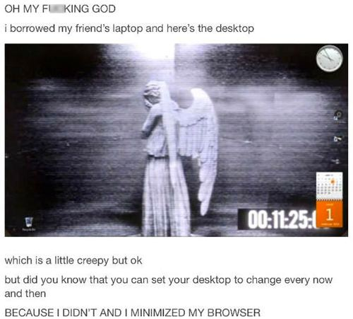 Weeping Angel computer desktop