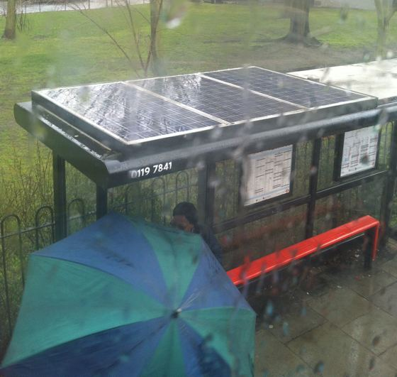 rainy solar panels