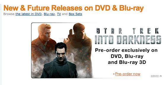 Star Trek Into Darkness preorder DVD