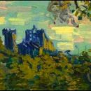 Doctor Who thing: is that the TARDIS in the new Van Gogh, Sunset at Montmajour?