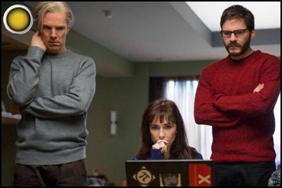 The Fifth Estate yellow light Benedict Cumberbatch Carice van Houten Daniel Bruhl