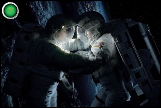 Gravity green light George Clooney Sandra Bullock
