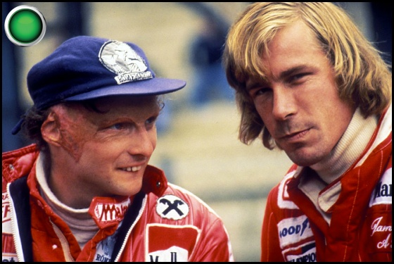1976 Hunt vs Lauda green light Nikki Lauda James Hunt