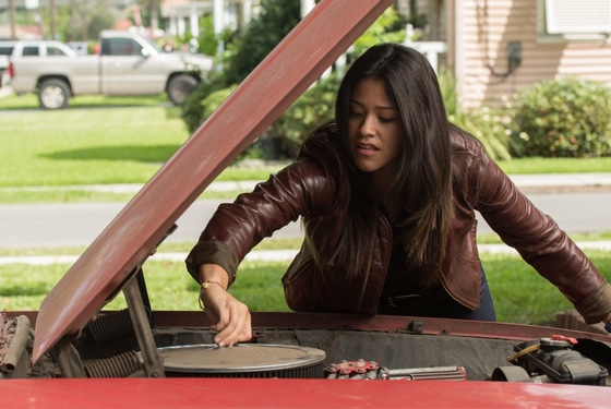Yes, the navigator of Deepwater Horizon is a girl (Gina Rodriguez), but she, like, knows how to fix cars and stuff, so it's cool.