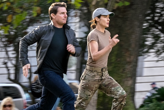 Cobie Smulders tries her best to escape from the movie, but no one can outrun Tom Cruise in action-hero mode.