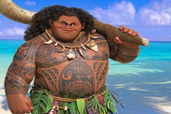 Moana's trickster demigod Maui, voiced by Dwayne Johnson