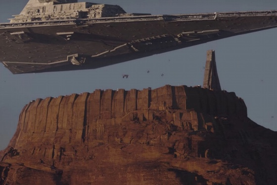 The Star Destroyer hung over Jedha City in much the same way that bricks don't.