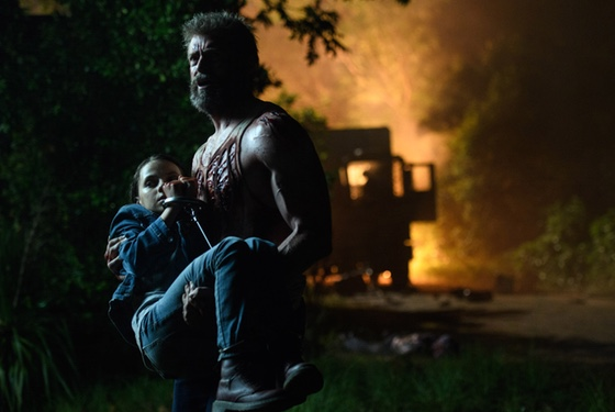 Logan with the next generation (and probably the next movie franchise) of mutants.