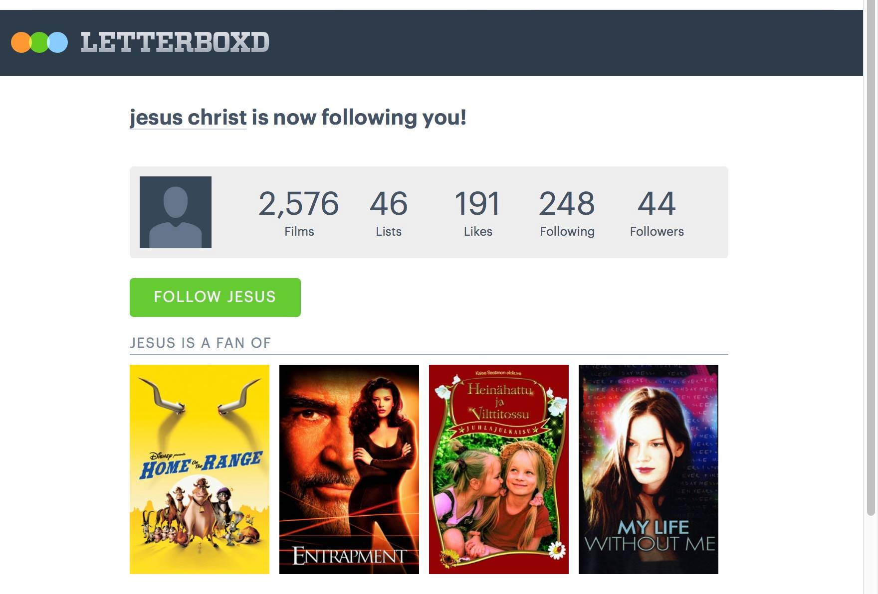 Jesus Christ is now following me on Letterboxd ...