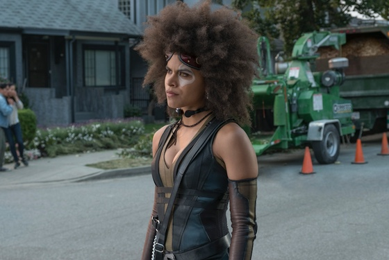 """""""I can't believe I have to play sidekick to this jerk. My backstory is actually really cool, and he never even asks about it."""" Zazie Beetz as Domino"""