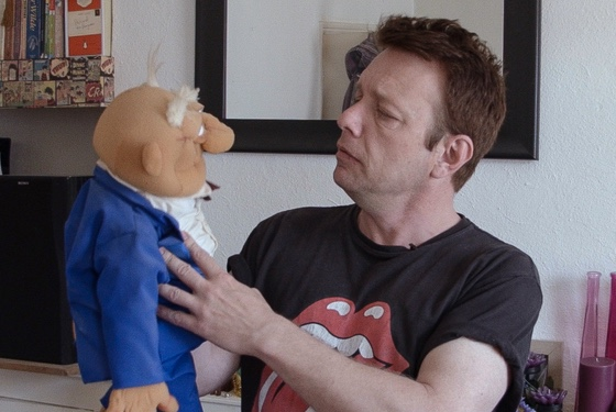 Basildon puppeteer Steve Waters with Old Man Stan, a vocal critic of the local governing council.