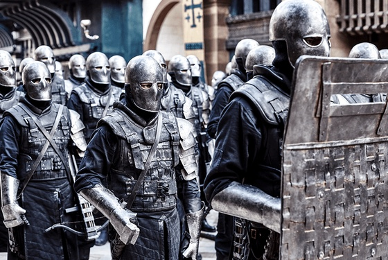Medieval soldiers or 21st-century riot cops? Authoritarian antics are timeless!